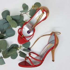 🌼 REPORT SIGNATURE Red and Wood Strappy Heels 7.5